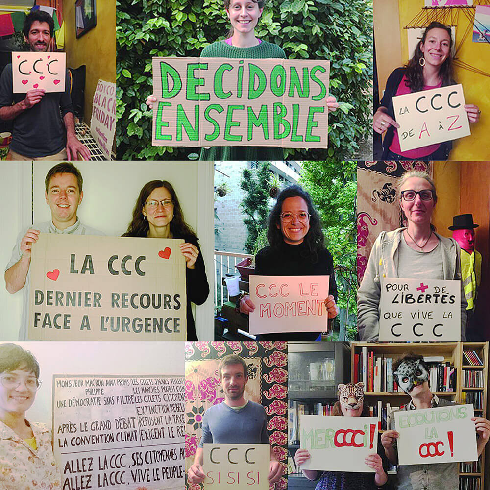 French rebels and Youth For Climate activists show their support for the CCC's action plan.