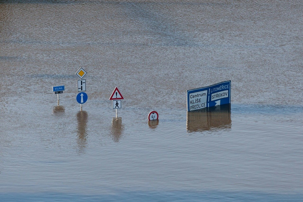 Traffic signs half-submerged in water.