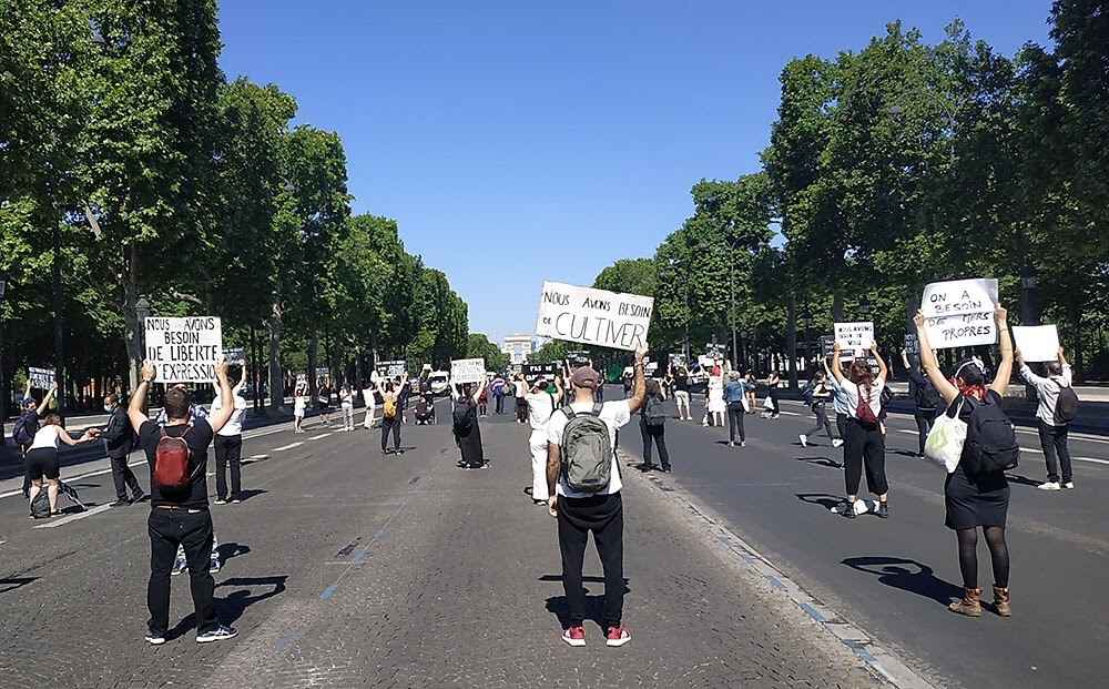 Rebels in Paris, France blocking the Champs-Elysees