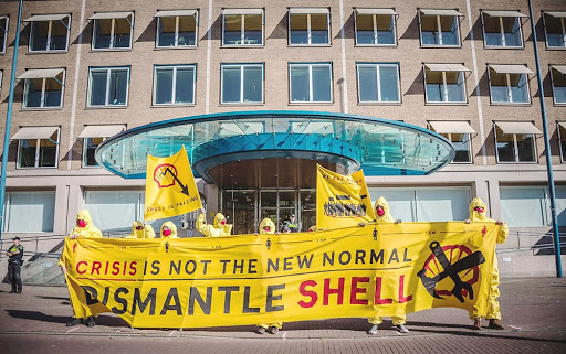Rebels protesting against Shell