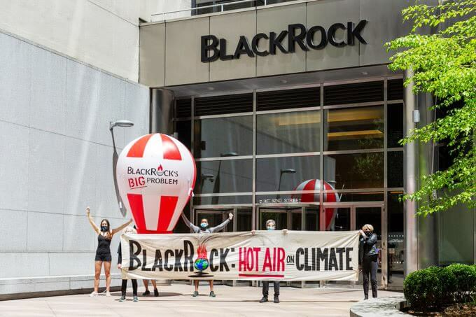 Rebels protesting against Blackrock