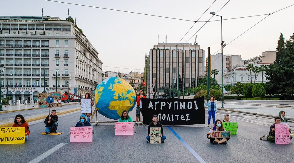Rebels protesting in Greece