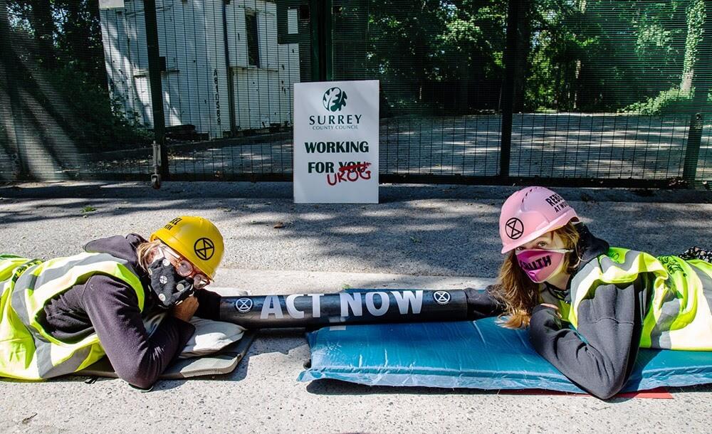 Rebels protesting against fracking