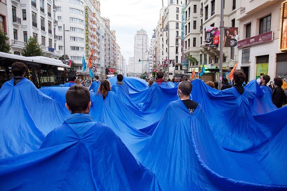 Spain's blue brigade moving through the streets
