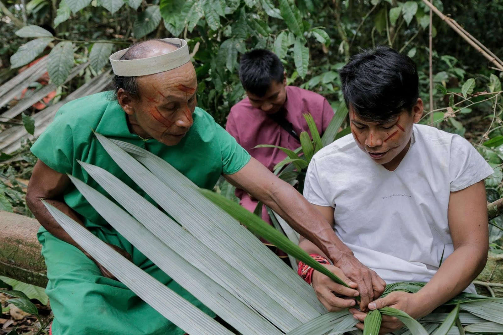 Jimmy and Ribaldo Piaguaje learning about plants from an elder.