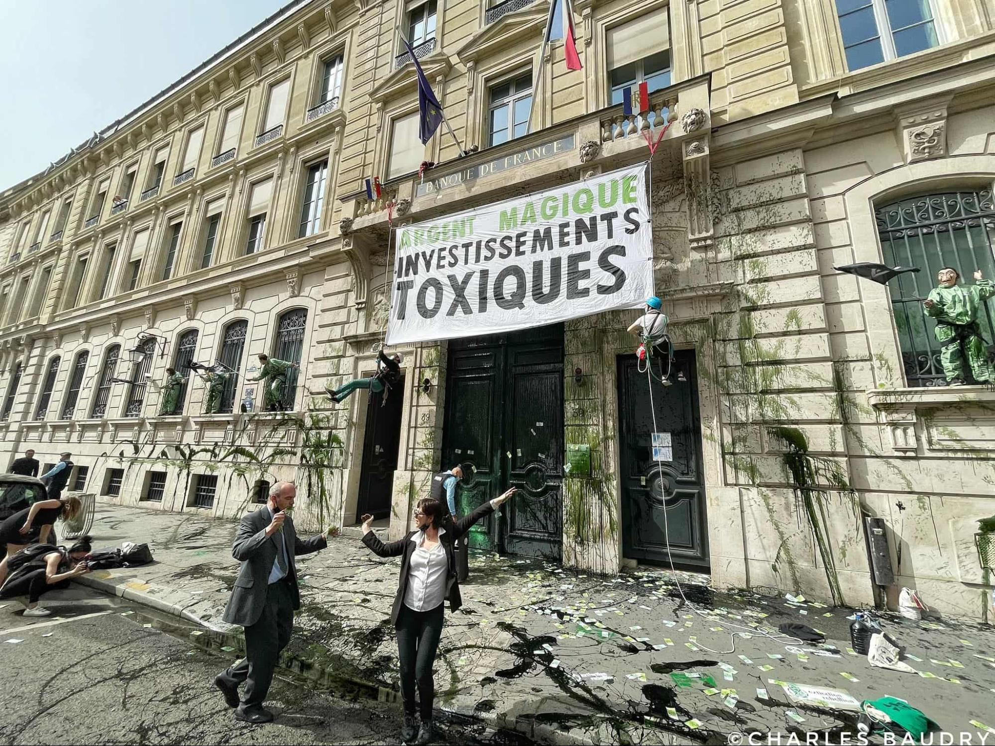 Paris, France. The Bank of France gets a makeover to match its dirty oil investments.