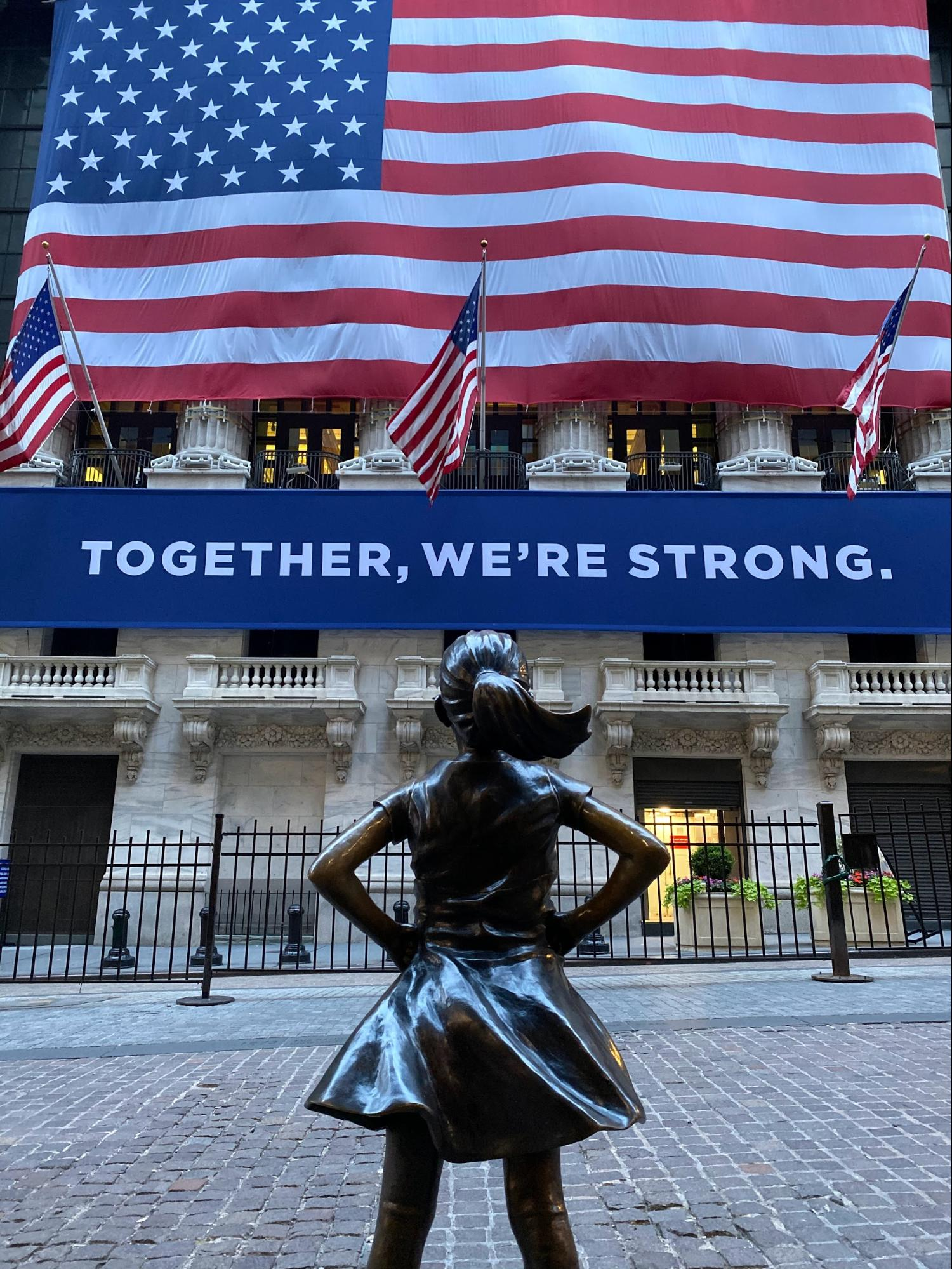 Kristen Visbal's Fearless Girl bronze sculpture outside the New York Stock Exchange on Wall Street