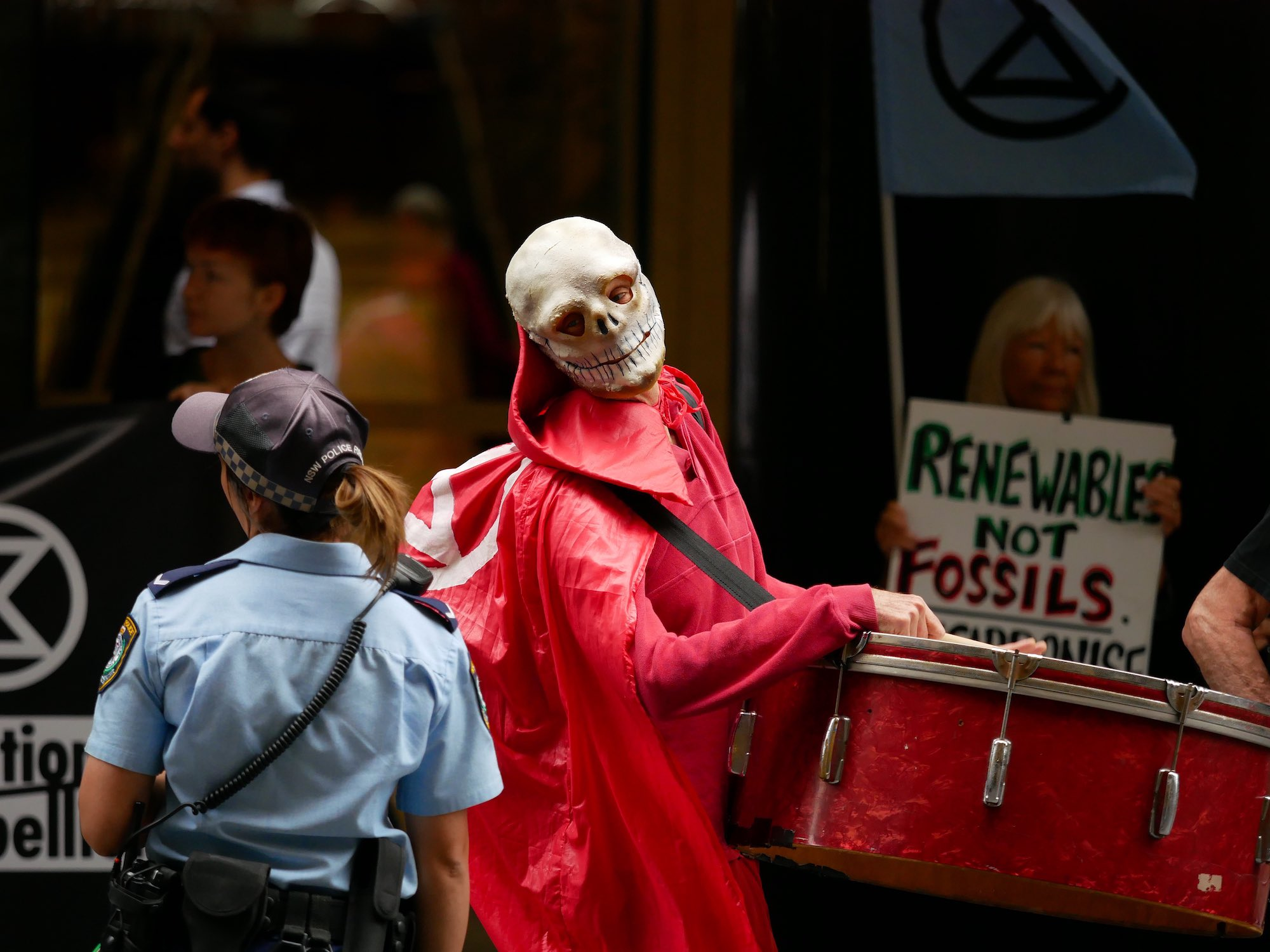 Sydney, Australia. Rebels block the National Australia Bank & tell it not to nab their future.