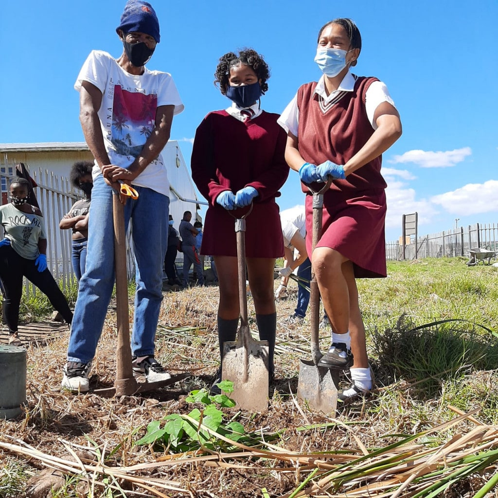 School children plant trees with XR Nelson Mandela Bay, South Africa for World Water Day.