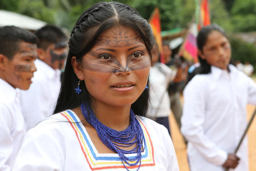 Sarayaku woman with face paint