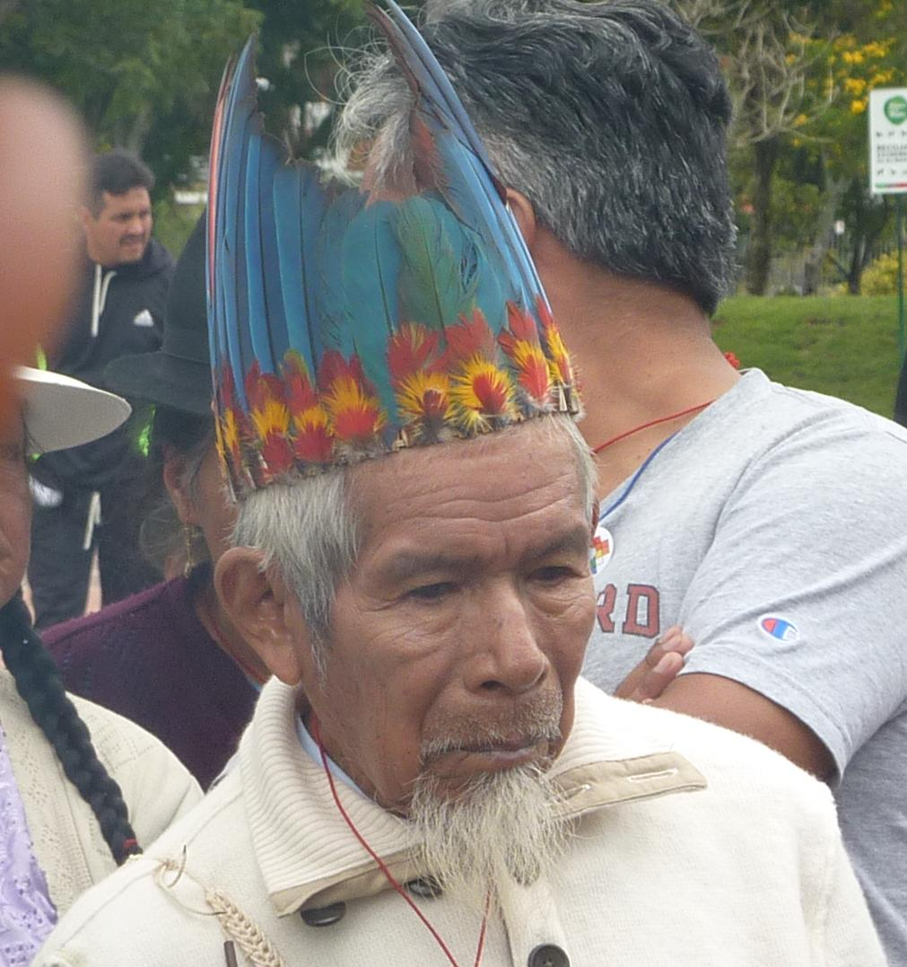 Sarayaku elder with colourful headdress