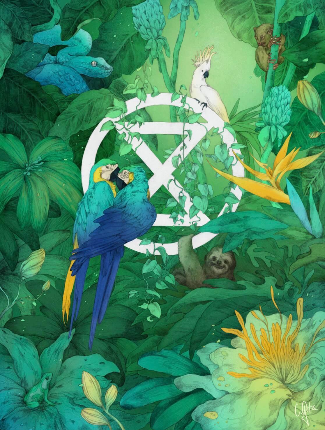 Extinction symbol with birds