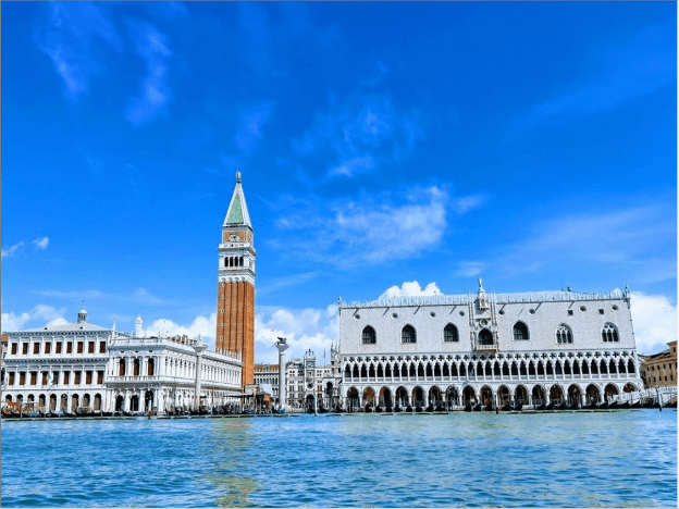Clear sky and water. Venice, Italy. June, 2020