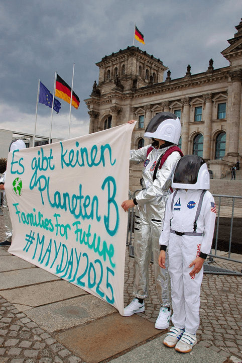 Rebels dressed as spacemen demonstrating