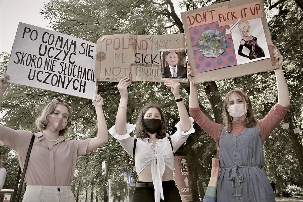 Rebels demonstrating in Poland