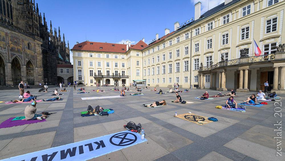 Rebels lying down in a square in Prague