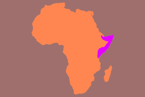 Map of Africa with Somalia highlighted